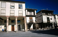 Castilian style buildings in Do&#241;a Sancha square. Covarrubias. Burgos province. Spain