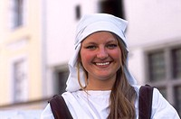 Estonian Girl in Traditional Costume, Olde Hansa Restaurant, Old Town, Tallinn, Estonia Model Release52-06
