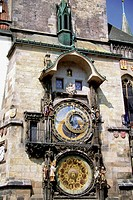 Low angle view of an astronomical clock, Prague, Czech Republic