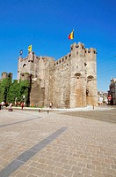 Low angle view of the Gravensteen Castle, Ghent, Belgium