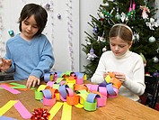 Children making paper chain