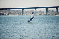 Person sailing in a boat, Glorietta Bay, San Diego, California, USA