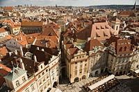 High angle view of buildings, Prague, Czech Republic