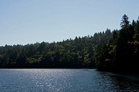 Panoramic view of a lake, Mt. Tamalpais State Park, California, USA