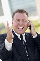 Portrait of a businessman talking on the mobile phone