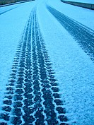 Tyre tracks in the snow, close-up