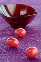 Red Easter eggs and bowl
