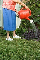 Senior woman watering the garden