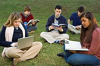 Five students sat reading outdoors