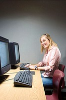 Female student working on a computer