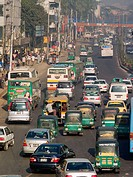 Urban traffic in the heart of Dhaka, Bangladesh