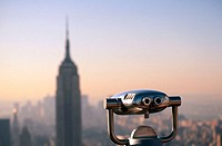 Stationery viewer and Empire State Building, New York City. USA