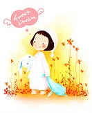 illustrated images about kids, angels, boys and girls