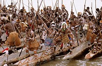 Traditional canoe celebration at Agats village, Western Papuasia, Former Irian-Jaya, Indonesia
