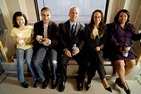 Group portrait of commuters on subway