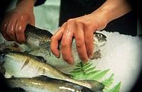 Fish counter in deli, close up of fish, Spain