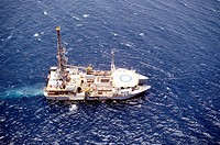 Aerial view of an oil drilling ship in the sea