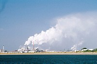Pollution from a pulp mill by the river, Eureka, California, USA