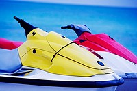 Close-up of two jet ski's in the sea, South Beach, Miami, Florida, USA