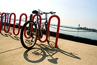 Bicycle parked at a bicycle rack, Lake Michigan, Chicago, Illinois, USA