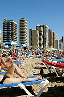 Levante beach. Benidorm. Costa Blanca. Alicante province. Spain