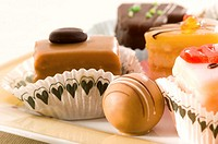 Plate of petit fours, close-up