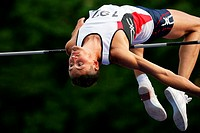 Male High Jumper Clearing the Bar