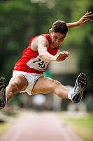 Male Long Jumper Leaping