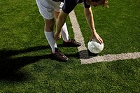 Soccer Player Setting Up A Corner Kick