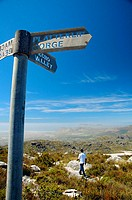 Signpost for walking tracks to Echo Valley and Platteklip Gorge on top of Table Mountain, Table Mountain National Park, Cape Town, South Africa