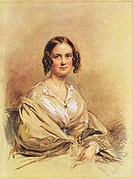 Watercolor peice of Emma Wedgwood Darwin by George Richmond (1840).