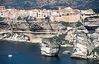 France, Corsica, Bonifacio, village by cliffs