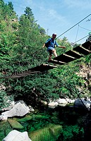 France, Corsica, Corte, footbridge in the Gorges of Tavignano