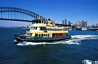 Australia, Sydney, ferry boat and Harbour bridge