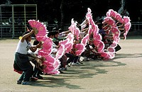 South Korea, near Kosong, traditional Korean fan dance