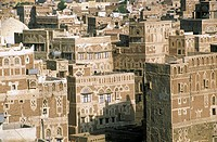 Yemen, Sanaa, city built in adobe