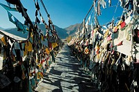 China, Tibet, Lhasa, prayer pennants