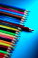 Colourful coloured pencils on the table