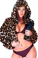 A woman in purple bikini wearing a hooded leopard skin jacket