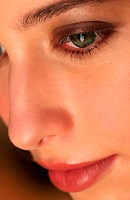 An up-close picture of a woman's face