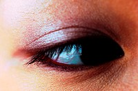 Woman's eye with makeup applied
