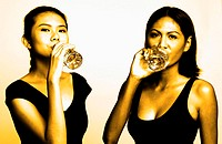Women drinking water