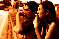 Man and woman smoking