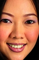 Close-up picture of a woman's face with makeup