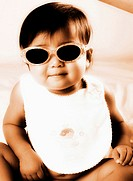 Baby girl wearing sunglass