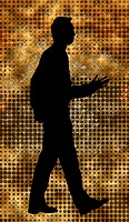 Silhouette of man walking