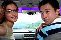 Couple travelling in the car