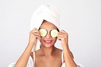 Woman doing facial mask