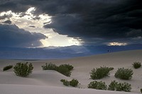 Storm-Clouds-&-Sand-Dunes-w/-hiker-near-Stovepipe-Wells/nDeath-Valley-Natl-Park---CA.--California