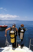 Two Scuba Divers preparing, Nosy Be, Madagascar